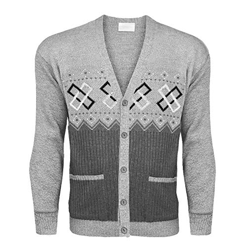 Mens Classic Button Cardigan Argyle Knitwear Granddad Aztec Two Front Pockets TOP[Light Grey,M] from Generic