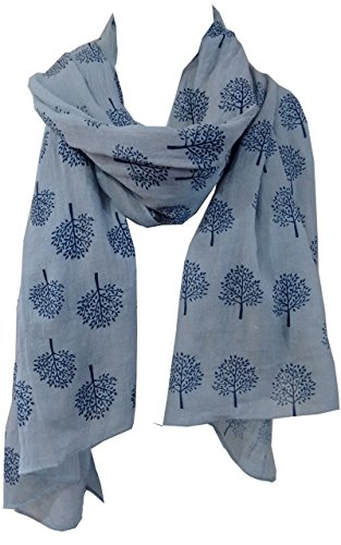 Mulberry Tree Print Scarf Womens Lightweight Fashion Large Wrap (Grey Blue) from Generic