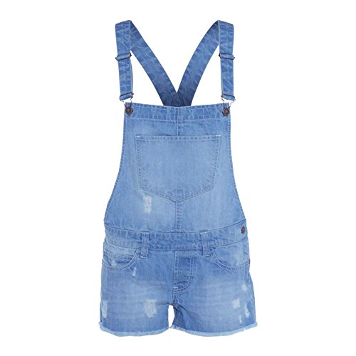 NEW LADIES STRETCH DENIM LIGHTWASH PLAYSUIT JUMPSUIT DUNGAREE SHORTS from Generic