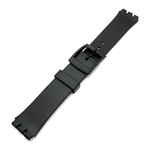 New 17mm (20mm) Sized Resin Strap Compatible for Swatch® Watch - Black - RG12 from Generic