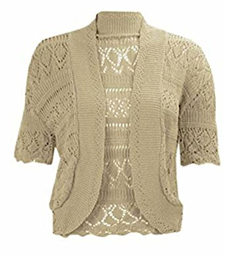 New Women's Crochet Knitted Bolero Shrug Open Front Cardigan Top Size. UK 16-30 from Generic