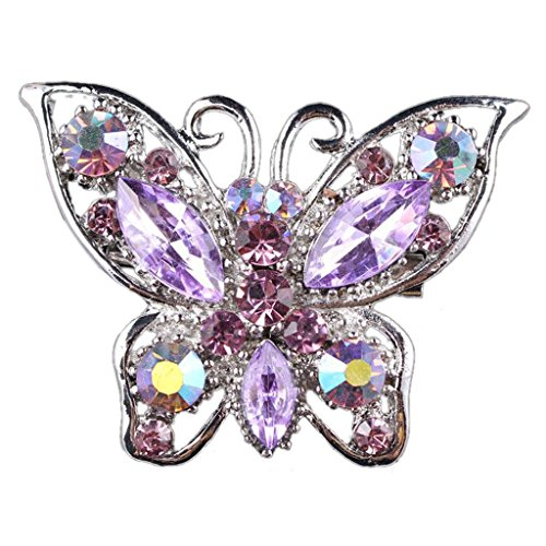 Shiny Rhinestones Butterfly Brooches Pin Decor Gift Wedding Bride - Light Purple from Generic