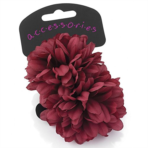 Twilo Design 2 Large Ponio Flowers On Elastic Hairband 6.5Cm Flower -Wine from Unknown
