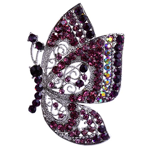 Wedding Bridal Vintage Rhinestone Crystal Butterfly Insect Silver Plated Brooch Pin - Purple from Generic