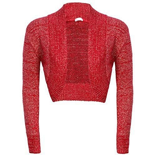 Womens Girls Long Sleeve Knitted Metallic Lurex Shrug Ladies Evening party Bolero Cardigan-£5.99, Sizes 8-14 (M/L(12-14), Red) from Generic