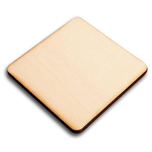 Wooden Squares Cup Coaster 95mm - Craft Shapes Blanks, 95mm (Plain, 10) from Generic