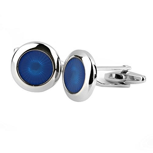 Round Men's Shirt Cuff Links Gift Blue and Silver from Generic