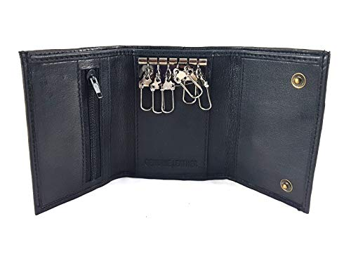 Black Leather Key Holder / Key Case Wallet Key Ring Soft Nappa Leather from Gents Leather Belts