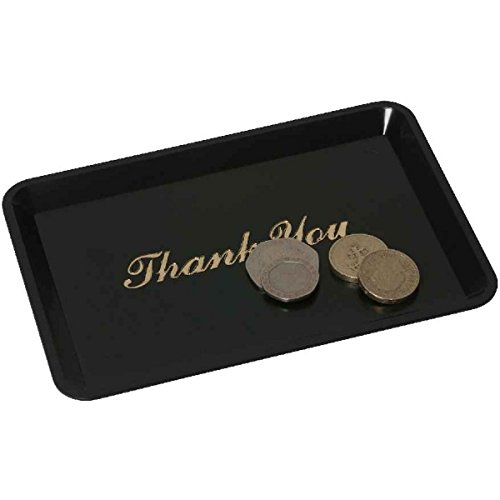 "Genware NEV-3022-03 Tray, Tip 'Thank You', 4.1/2"" x 6.1/2"", Black from Genware"