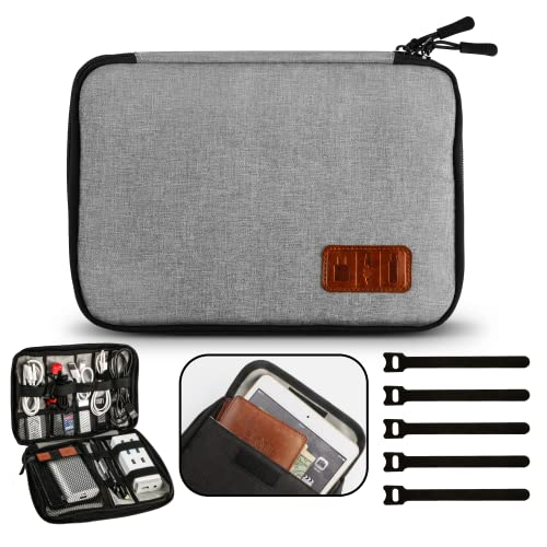 GiBot Cable Organiser Bag, Travel Electronics Accessories Bag Organiser for Cables, Flash disk, USB drive, Charger, Power Bank, Memory Card, Headphone and iPad Mini, Double Layer, Grey from GiBot