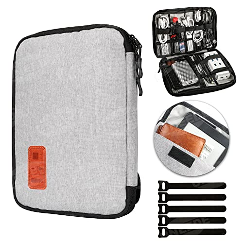 Wire Cable Organiser Bag Universal Travel Bags Organiser Waterproof Electronics Accessories Case for Various Hard Drives,Mouse,Chargers,with 5 Cable Ties,Gray from GiBot