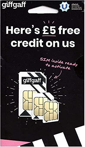 Giffgaff Nano/Micro/Standard SIM. Top Tariff Offers Unlimited Calls, Text, Internet Data. Great Peace of Mind Sim - Just Pay As You Go - no Contract. Multi Size, Fits All Devices. £5 Bonus Credit When You Topup £10 First Time. from Giffgaff