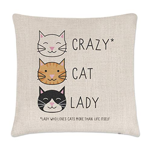 Gift Base Crazy Cat Lady Linen Cushion Cover from Gift Base