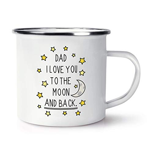 Dad I Love You to The Moon and Back Retro Enamel Mug Cup from Gift Base