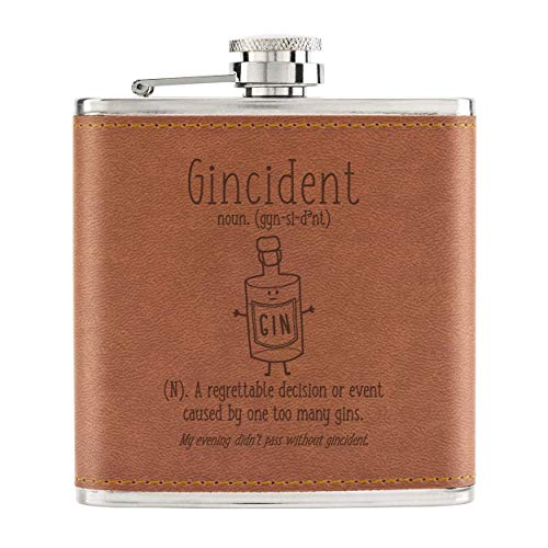 Gincident Definition 6oz PU Leather Hip Flask Tan from Gift Base