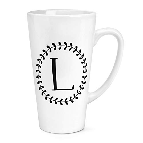 Letter L Floral Wreath Alphabet 17oz Large Latte Mug Cup from Gift Base