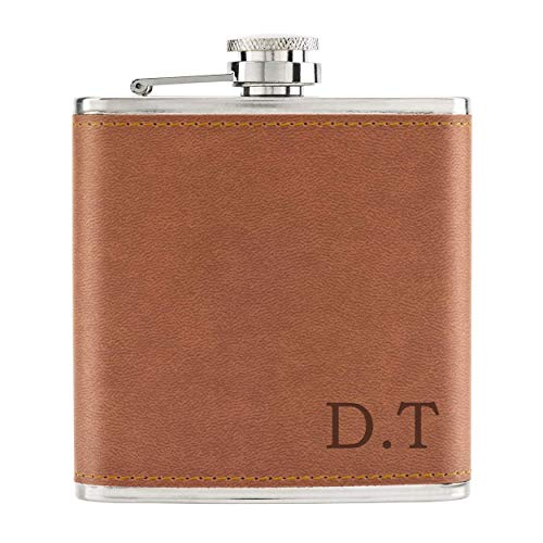 Personalised Custom Initials 6oz PU Leather Hip Flask Tan from Gift Base