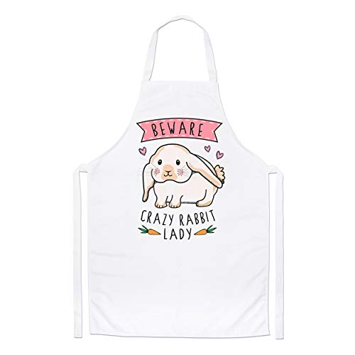 Beware Crazy Rabbit Lady Chefs Apron from Gift Base