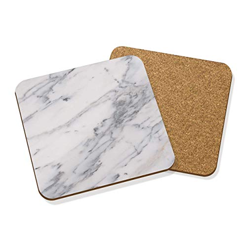 White & Grey Marble Effect VEINED Drinks Coaster MAT Cork Square Set X4 from Gift Base