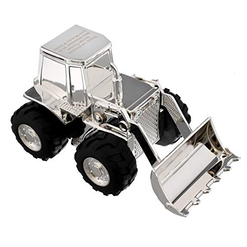 Engraved Silver Plated Digger Money Box, Christening Gift for Boys, Personalised Gift from Gift Cookie