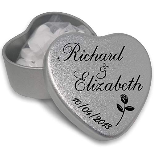 15 Luxury Personalised Heart Shaped Wedding Favours makes the Perfect Party Gift Memento Keepsake. Tins are filled with Mints, Chocolates, or Sweets. (15) from Gift In Can