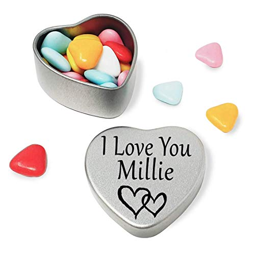 I Love You Millie Mini heart shaped silver gift tin filled with mini chocolates. Great as a birthday present or a gift to show someone special how much you love them from Gift In Can Ltd