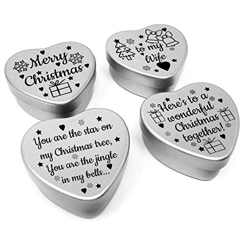 Luxury Christmas Gift for Wife. Set of 4 mini heart shaped tins presented in a gift box. Ideal gift for your wife this Xmas. Filled with luxury Italian heart shaped chocolates. (Wife) from Gift In Can