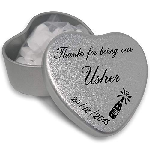 Luxury Personalised Wedding Gifts for Guests, Makes the perfect Keepsake and Momento for your Special Day with mints or chocolates. (Usher) from Gift In Can