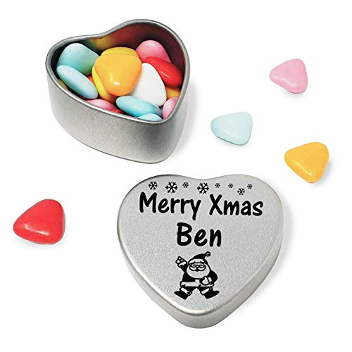 Merry Xmas Ben Heart Shaped Mini Tin Gift filled with mini coloured chocolates perfect card alternative for Ben Fun Festive Santa Design from Gift In Can Ltd