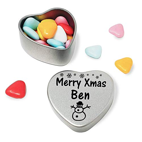 Merry Xmas Ben Heart Shaped Mini Tin Gift filled with mini coloured chocolates perfect card alternative for Ben Fun Festive Snowman Design from Gift In Can Ltd