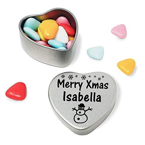 Merry Xmas Isabella Heart Shaped Mini Tin Gift filled with mini coloured chocolates perfect card alternative for Isabella Fun Festive Snowman Design from Gift In Can Ltd