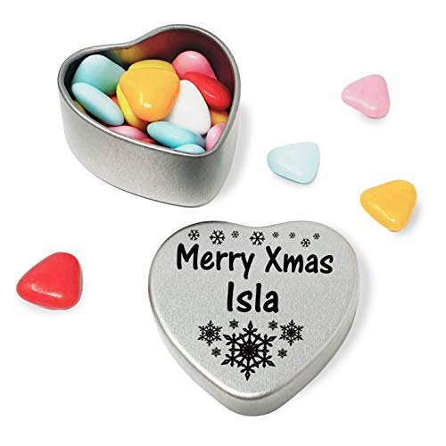 Merry Xmas Isla Heart Shaped Mini Tin Gift filled with mini coloured chocolates perfect card alternative for Isla Fun Festive Snowflakes Design from Gift In Can Ltd