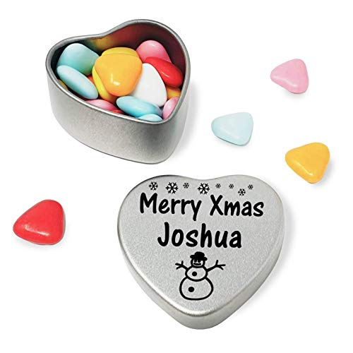 Merry Xmas Joshua Mini Heart Gift Tin with Chocolates Fits Beautifully in the palm of your hand. Great Christmas Present for Joshua Makes the perfect Stocking Filler or Card alternative. Tin Dimensions 45mmx45mmx20mm. Three designs Available, Father Christmas, Snowman and Snowflakes. They also make perfect Secret Santa Gifts. from Gift In Can