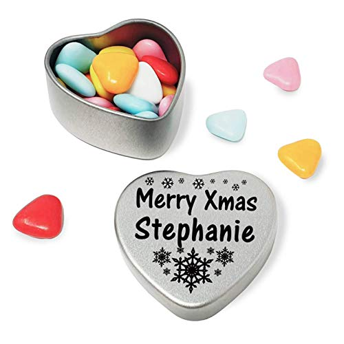 Merry Xmas Stephanie Heart Shaped Mini Tin Gift filled with mini coloured chocolates perfect card alternative for Stephanie Fun Festive Snowflakes Design from Gift In Can Ltd
