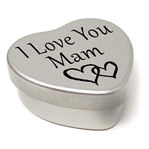 Perfect Way To Say I Love You. Beautiful Mini Silver Heart Tin With Sweets, Special Gift Present to say I Love You. Tin size 45mm x 45mm x20mm. (Mam) from Gift In Can