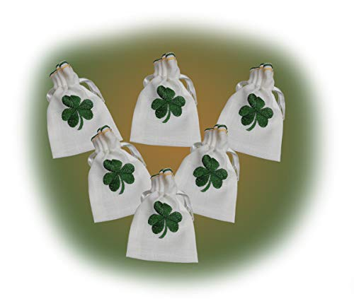 10 New Linen Look Irish Shamrock Embroidered Drawstring Gift Bags ZS60 FREE UK POSTAGE from GiftsScotland