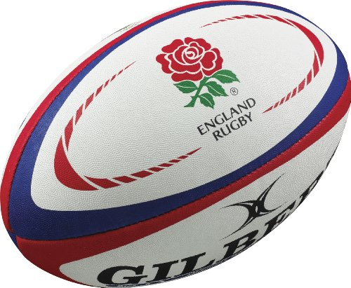 Gilbert England Rugby Replica Ball - White/Red, Size 4 from Gilbert