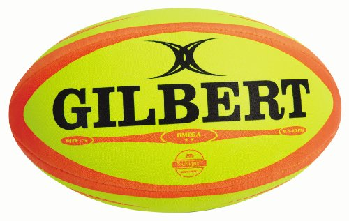 Gilbert Men's Omega Match Rugby Ball - Fluoro, Size 5 from Gilbert