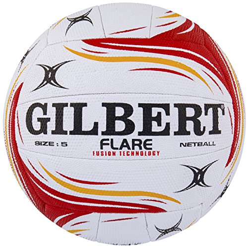 Gilbert Women's Flare Match Net Ball, White/Red/Orange, Size 5 from Gilbert