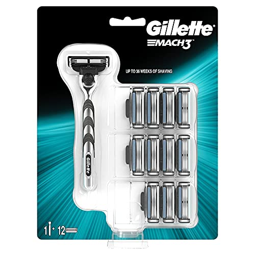 Gillette Mach3 Razor Plus 12 Razor Blades for Men, Up to 10 Months Worth of Shaving from Gillette