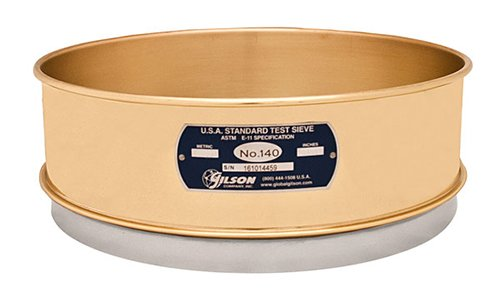 "Gilson Performer V12CF #140 Brass/Stainless Steel Sieve, 140, 12"" Diameter, Full Height from GILSON"