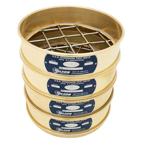 "Gilson Performer V8CH #50 Brass/Stainless Steel Sieve, 50, 8"" Diameter, Half Height from GILSON"