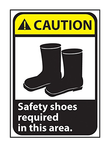 Gilson CGA9RB Safety Shoes Required Area Caution Sign, Rigid Plastic, 14' x 10' from Gilson
