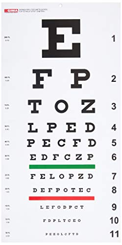 Gima 31308 - Traditional Snellen Optometric Chart, Dimensions 28 x 56 cm, Distance 6.1 m from GIMA