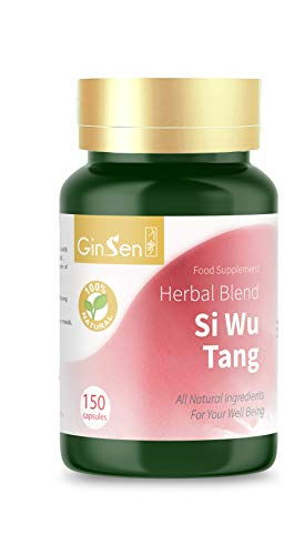 Si Wu Tang Wan 150 Caps | Hair Loss | Irregular Periods | Iron Deficiency | Absent Period | Fatigue | Infertility | Dizziness | Low Immunity | Poor Memory | Constipation | Insomnia | Boost Energy from GinSen