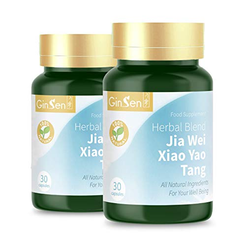 Jia Wei Xiao Yao Tang Wan Pian 30 Caps | Anxiety | Stress | Panic Attacks | Palpitation | PMS | Irregular Periods | Headache | Insomnia | Traditional Chinese Medicine | Food Supplement from GinSen