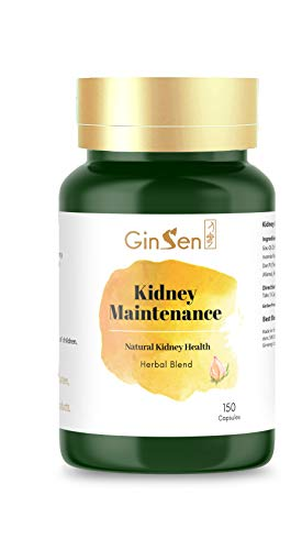 GinSen Kidney Maintenance 150 Capsules Helps Kidney Health, Frequent Urination, Low Testosterone Level, Sexual Performance, Libido, Water Retention, Food Supplement, Natural Remedy, Made in UK from GinSen