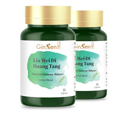 GinSen Liu Wei Di Huang Tang - 2 Bottles of 30 Capsules Helps Menopause, Hot Flushes, Night Sweat, high FSH, Low AMH, Dizziness, Tinnitus, Fatigue, Food Supplement, Natural Remedy, Made in UK from GinSen
