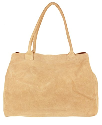Girly HandBags Expandable Italian Suede Leather Shoulder Bag -- Taupe from Girly Handbags
