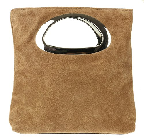 Girly HandBags Genuine Suede Italian Handbag (Khaki) from Girly Handbags